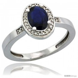 14k White Gold Diamond Blue Sapphire Ring 1 ct 7x5 Stone 1/2 in wide