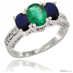 14k White Gold Ladies Oval Natural Emerald 3-Stone Ring with Blue Sapphire Sides Diamond Accent
