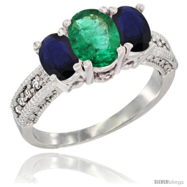 https://www.silverblings.com/47890-thickbox_default/14k-white-gold-ladies-oval-natural-emerald-3-stone-ring-blue-sapphire-sides-diamond-accent.jpg