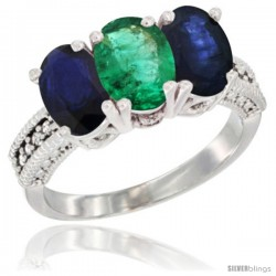 14K White Gold Natural Emerald & Blue Sapphire Sides Ring 3-Stone 7x5 mm Oval Diamond Accent
