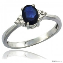 14k White Gold Ladies Natural Blue Sapphire Ring oval 7x5 Stone Diamond Accent