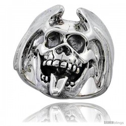 Sterling Silver Skull Ring with Tongue out 1 1/8 in wide