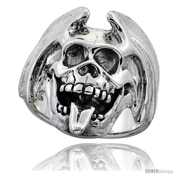 Sterling Silver Mouth Skull Ring with Tongue Sticking Out