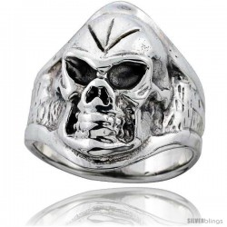 Sterling Silver Mean Skull Ring 1 in wide