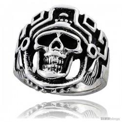 Sterling Silver Aztec King Biker Skull Ring, 1 in wide