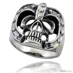 Sterling Silver Skull Ring with Head Armor 1 in wide