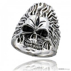 Sterling Silver Skull on Flames Ring 1 3/8 in wide