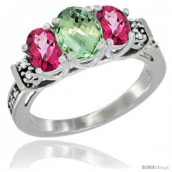 14K White Gold Natural Green Amethyst & Pink Topaz Ring 3-Stone Oval with Diamond Accent