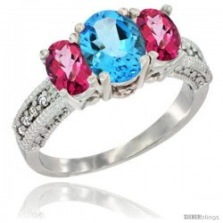 14k White Gold Ladies Oval Natural Swiss Blue Topaz 3-Stone Ring with Pink Topaz Sides Diamond Accent