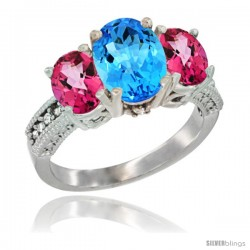 14K White Gold Ladies 3-Stone Oval Natural Swiss Blue Topaz Ring with Pink Topaz Sides Diamond Accent