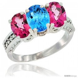 14K White Gold Natural Swiss Blue Topaz & Pink Topaz Sides Ring 3-Stone 7x5 mm Oval Diamond Accent