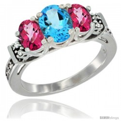 14K White Gold Natural Swiss Blue Topaz & Pink Topaz Ring 3-Stone Oval with Diamond Accent