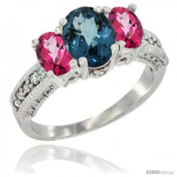 14k White Gold Ladies Oval Natural London Blue Topaz 3-Stone Ring with Pink Topaz Sides Diamond Accent