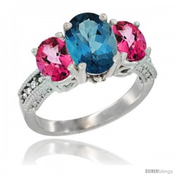 14K White Gold Ladies 3-Stone Oval Natural London Blue Topaz Ring with Pink Topaz Sides Diamond Accent