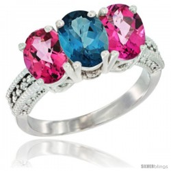 14K White Gold Natural London Blue Topaz & Pink Topaz Sides Ring 3-Stone 7x5 mm Oval Diamond Accent