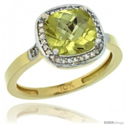 10k Yellow Gold Diamond Lemon Quartz Ring 2.08 ct Checkerboard Cushion 8mm Stone 1/2.08 in wide