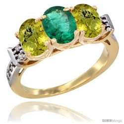 10K Yellow Gold Natural Emerald & Lemon Quartz Sides Ring 3-Stone Oval 7x5 mm Diamond Accent