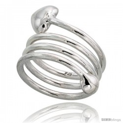 Sterling Silver Spiral Hand Made Snake, Wire Wrap Ring, w/ Heart-Shape Head, 1 (25 mm) wide