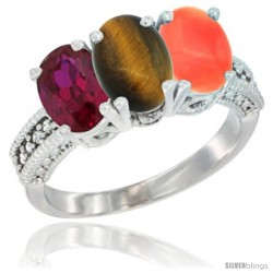 10K White Gold Natural Ruby, Tiger Eye & Coral Ring 3-Stone Oval 7x5 mm Diamond Accent