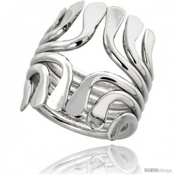 Sterling Silver Hand Made Freeform Wire Wrap Ring, 1 in (24 mm) wide -Style Xrw34