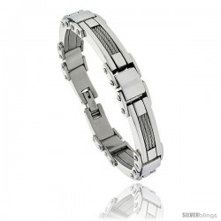 Gent's Stainless Steel Cable & Bar Bracelet, 1/2 in wide, 9 in long -Style Bss129
