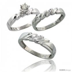 10k White Gold Diamond Trio Wedding Ring Set His 5mm & Hers 4mm -Style Ljw111w3