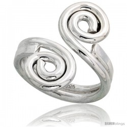 Sterling Silver Hand Made Freeform Wire Wrap Ring, 1 in (24 mm) wide