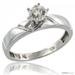 10k White Gold Diamond Engagement Ring, 5/32 in wide -Style Ljw112er