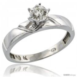 10k White Gold Diamond Engagement Ring, 5/32 in wide -Style Ljw112er