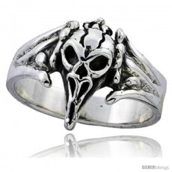 Sterling Silver Vulture Skull Ring 3/4 in wide
