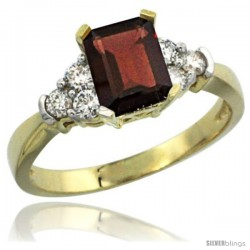 14k Yellow Gold Ladies Natural Garnet Ring Emerald-shape 7x5 Stone Diamond Accent