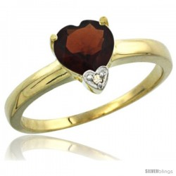 14K Yellow Gold Natural Garnet Heart-shape 7x7 Stone Diamond Accent