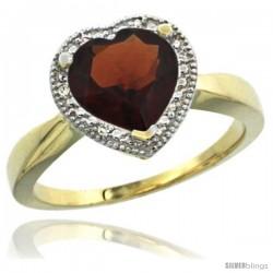 14k Yellow Gold Ladies Natural Garnet Ring Heart-shape 8x8 Stone Diamond Accent