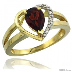 14k Yellow Gold Ladies Natural Garnet Ring Heart-shape 5 mm Stone Diamond Accent