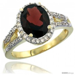 14k Yellow Gold Ladies Natural Garnet Ring oval 10x8 Stone Diamond Accent