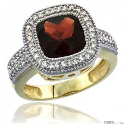 14K Yellow Gold Natural Garnet Ring Cushion-cut 9x9 Stone Diamond Accent