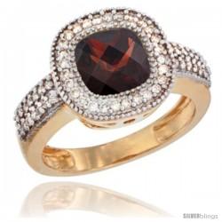 14k Yellow Gold Ladies Natural Garnet Ring Cushion-cut 3.5 ct. 7x7 Stone Diamond Accent