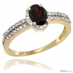 14k Yellow Gold Ladies Natural Garnet Ring oval 6x4 Stone Diamond Accent -Style Cy410178