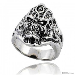 Sterling Silver Tattooed Skull Ring 1 1/8 in wide