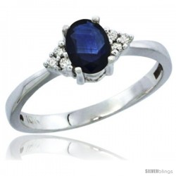 14k White Gold Ladies Natural Blue Sapphire Ring oval 6x4 Stone Diamond Accent
