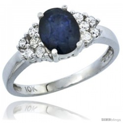 14k White Gold Ladies Natural Blue Sapphire Ring oval 8x6 Stone Diamond Accent