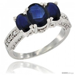 14k White Gold Ladies Oval Natural Blue Sapphire 3-Stone Ring Diamond Accent