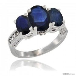 14K White Gold Ladies 3-Stone Oval Natural Blue Sapphire Ring Diamond Accent