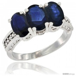 14K White Gold Natural Blue Sapphire Ring 3-Stone 7x5 mm Oval Diamond Accent