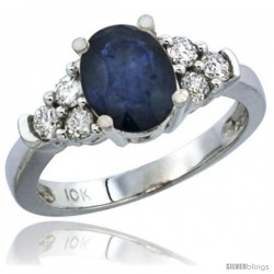 14k White Gold Ladies Natural Blue Sapphire Ring oval 9x7 Stone Diamond Accent
