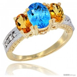 10K Yellow Gold Ladies Oval Natural Swiss Blue Topaz 3-Stone Ring with Citrine Sides Diamond Accent