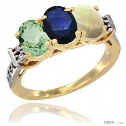10K Yellow Gold Natural Green Amethyst, Blue Sapphire & Opal Ring 3-Stone Oval 7x5 mm Diamond Accent