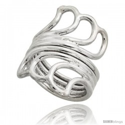 Sterling Silver Hand Made Wire Wrap Ring, 1 1/4 in (30 mm) wide