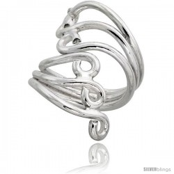 Sterling Silver Hand Made Freeform Wire Wrap Ring, 1 1/4 in (32 mm) wide