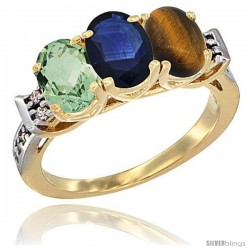 10K Yellow Gold Natural Green Amethyst, Blue Sapphire & Tiger Eye Ring 3-Stone Oval 7x5 mm Diamond Accent
